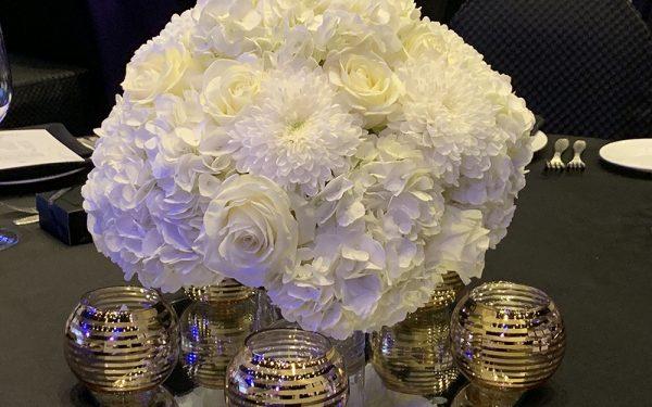 white flower centerpiece armani hotel